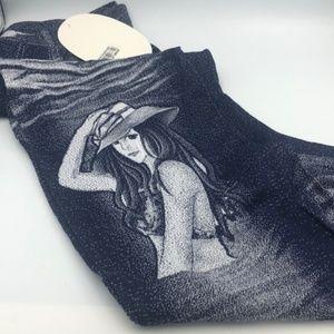 Pants - Cropped Stretchy Pants Faux Denim Color Design